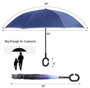 parapluie avec bandes réflechissantes
